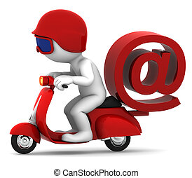 Person on scooter wit e-mail symbol. E-mail delivery...