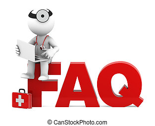 Medic sitting on FAQ sign. Frequently asked questions...