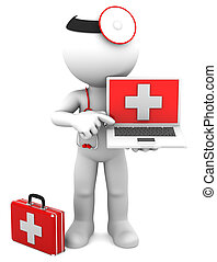 Medic with laptop Isolated on white
