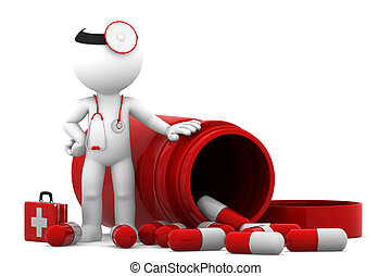 Doctor with pills. Isolated on white background