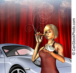 Wealthy Girl with sports car smoking cigar with text for...