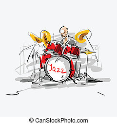 Sketch Jazz drummer Vector illustration