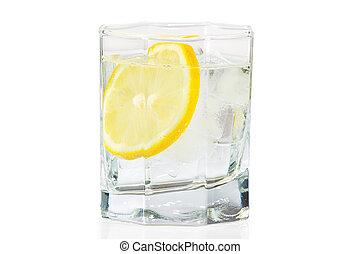 vidrio, agua, hielo, Rebanada, fresco, limón, blanco,...