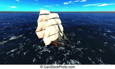 Sailing boat - sailing boat goes on voyage