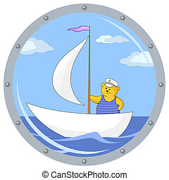 Teddy bear on ship - Window porthole with the review on the...