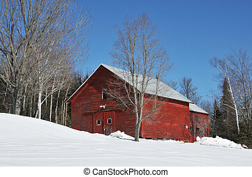 Red Barn - Bright red barn in the snow near Errol, New...