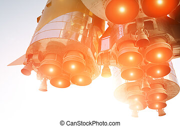 space-ship in action - Rocket engines, selective focus on...