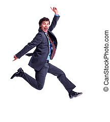 Happy jumping businessman Isolated on white background