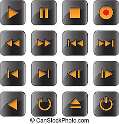 Multimedia control glossy icon set