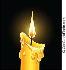 fogo, queimadura, cera, vela