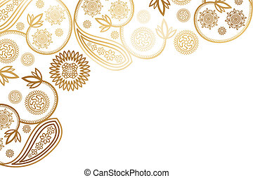 Decorative paisley card design with golden shimmering floral...