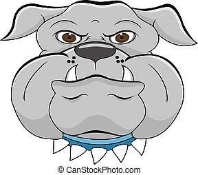 bulldogge, kopf, karikatur