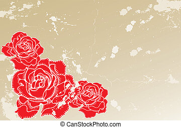 Old vintage background with roses