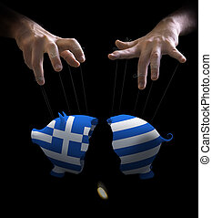 Greek crash and puppet master - Hand with cords manipulate...