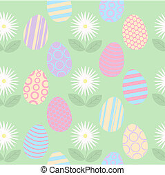 Seamless Easter Background with Eggs and Flowers