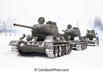 Russian Tanks T34 - Row of Legendary Russian Tanks T34 in...