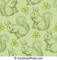 Seamless pattern with squirrels - Seamless pattern with Cute...
