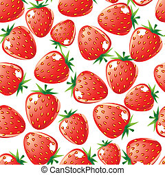Strawberry seamless background - Ripe red strawberry...