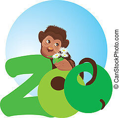little monkey with flowers in its hand (zoo symbol)