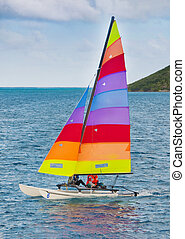 Hobie catamaran sailboat in caribbean waters