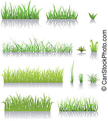 Green Grass Set - Illustration of a set of various green...