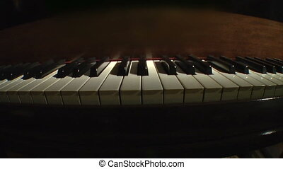 Piano keys static fisheye - Piano keys play themselves on a...