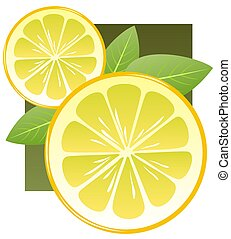lemon slices - Stylized lemon slices and leaves on a dark...