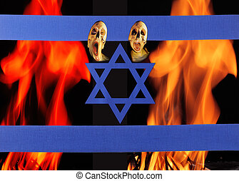 The pain - A israel flag by fire flames and screaming...