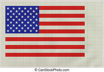 american flag on graph paper - american flag drawn on the...
