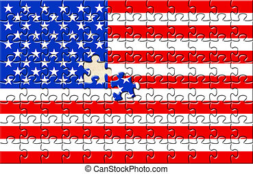 Puzzle with flag USA and one element not closed yet. Placed...
