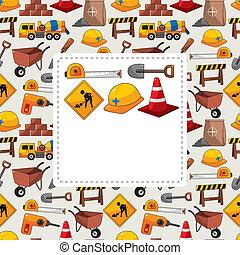construção, cartão, Objeto