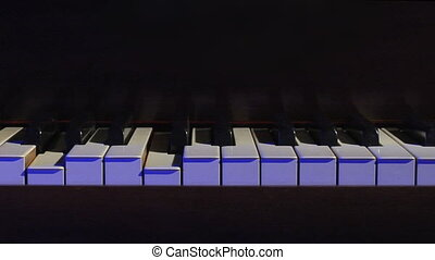Piano keys static blue - Piano keys play themselves on a...