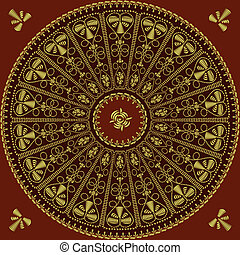 Traditional round vintage lace pattern, gold embroidery: rose, leaves, swirls on a red background