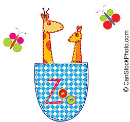 Zoo illustration with giraffe and k
