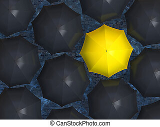 Yellow umbrella - Bright yellow umbrella among set of black...