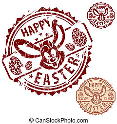 Easter Stamps - Collection grunge Easter Stamps with Rabbit,...