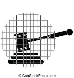 hammer justice with bars art vector illustration