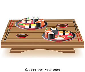 suchi served on wooden table vector illustration isolated on...