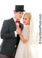 Wedding couple dancing - Beautiful wedding couple slow...
