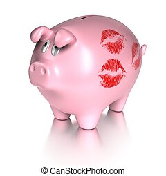 kissed piggy bank with many red lips prints concept of...