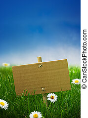 cardboard sign in a green garden grass, nature background, empty blue sky some daisies flowers and a ladybird