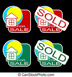 House for sale. - Set of icons for the house on sale. Red...