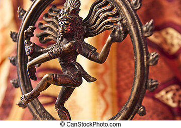 Close-Up of Shiva Statue - A close-up of a bronze/brass...