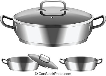 frying pan - Vector image of frying pan with cover