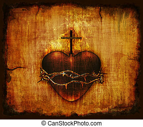 Sacred Heart on Parchment - The Sacred Heart of Jesus on...