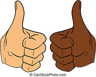 thumbs up - Caucasian and Afro American hands with thumbs up...