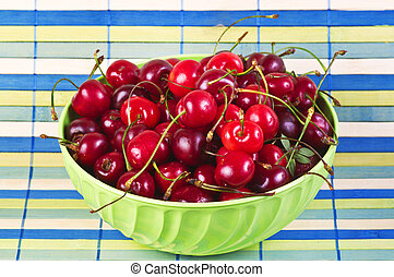 Cherry bowl close up on cup