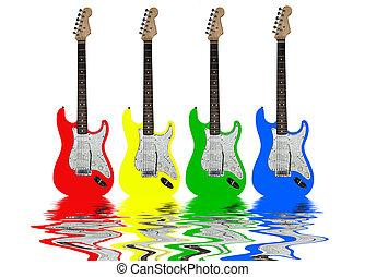 Elétrico, Guitarra, água, reflexo