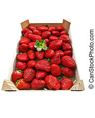 box of strawberries close up on white background