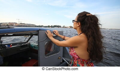 Tourists walking on a boat in St Petersburg - Russia, St...